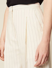 Wide-Leg Tailored Trousers : null color white