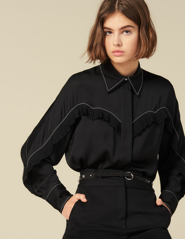 Shirt With Western-Style Cut-Outs : Tops & Shirts color Black