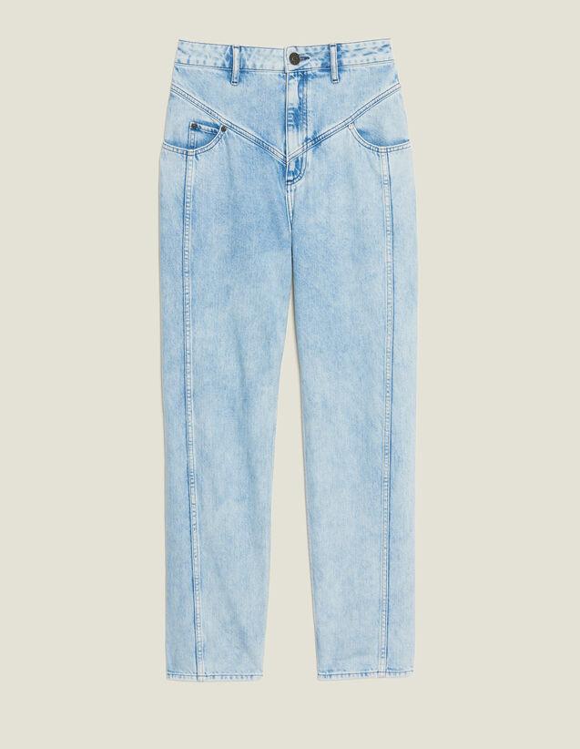 Washed Denim With Seaming : Jeans color Blue Vintage - Denim