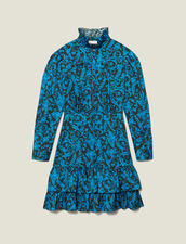 Printed dress with ruffles & high collar : Dresses color Blue