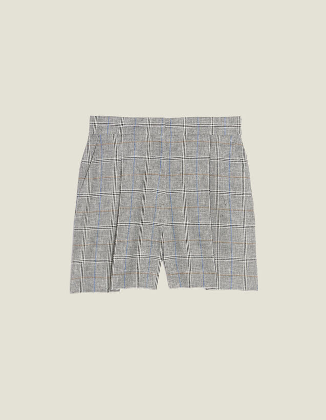 Checked Shorts : null color Grey