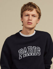 Sweatshirt With Patch Lettering : Sélection Last Chance color Navy Blue