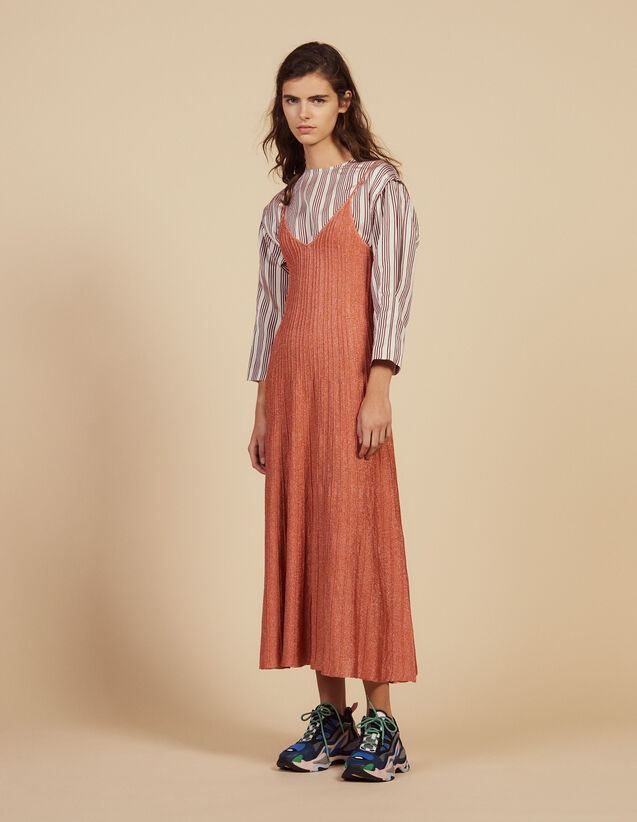 Knitted Long Dress With Narrow Straps : Dresses color Pêche