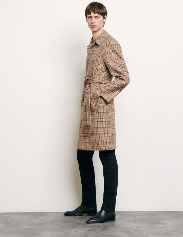 Decorative checked coat : Trench coats & Coats color Beige