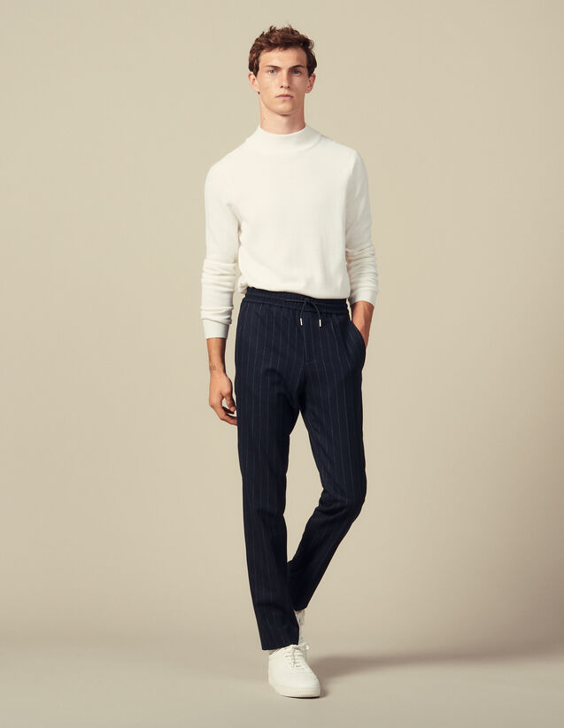 Smart wool trousers : Pants & Shorts color Navy Blue