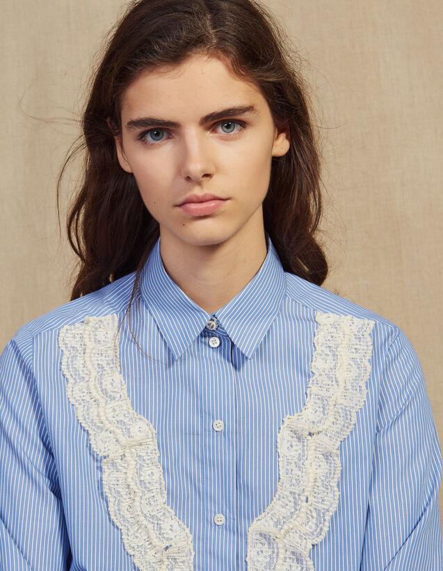 Shirt With Fine Stripes And Lace : LastChance-FR-FSelection color Sky Blue