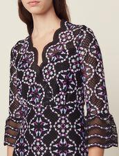 Short Guipure Dress : null color Black