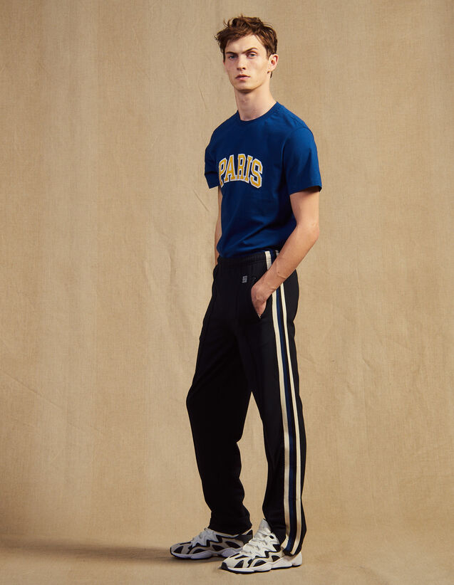 Jersey Jogging Bottoms With Striped Trim : Sélection Last Chance color Black