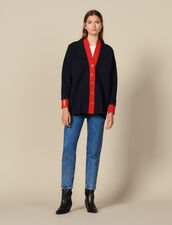 Two-tone cardi-coat with layered effect : Sweaters & Cardigans color Navy Blue