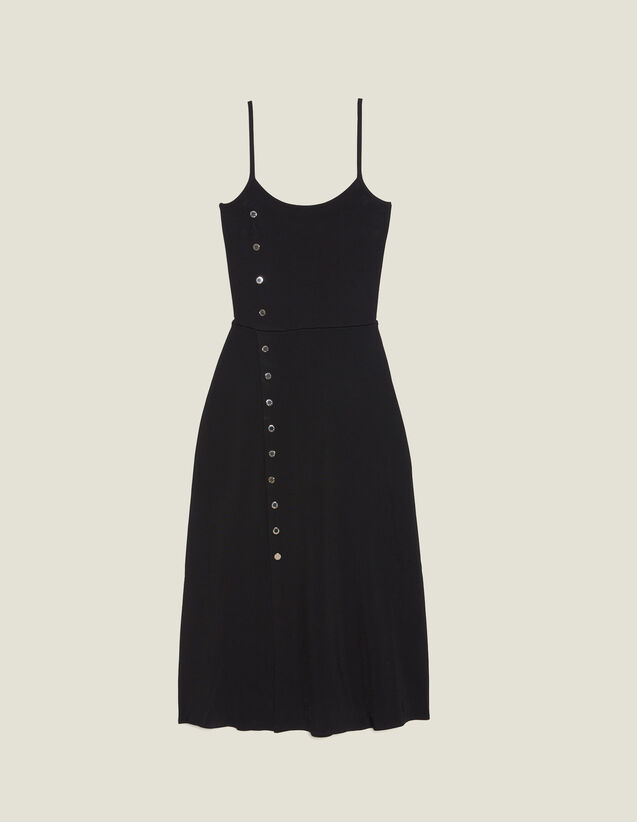 Knitted Midi Dress With Narrow Straps : null color Black