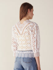 Lace Blouse With 3/4 Length Sleeves : null color white