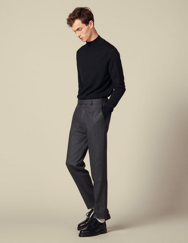 Carrot-cut flannel trousers : LastChance-IT-H40 color Mocked Grey