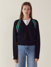 Long-Sleeved Sweater With Braid Trim : All Selection color Navy Blue