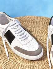 Leather trainers : Shoes color white