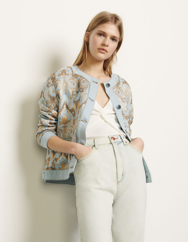 Brocade jacket with denim inserts : Blazers & Jackets color Gold / Blue