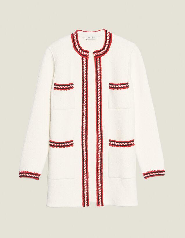 Cardigan With Three-Coloured Braid Trim : Sweaters & Cardigans color Ecru