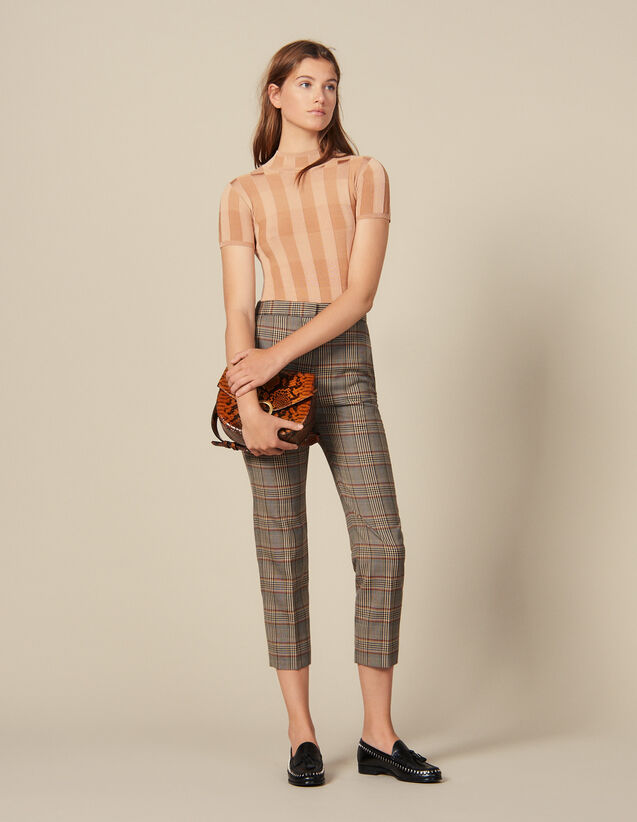 Checked straight-cut trousers : Copy of Pants and Jeans color Multi-Color