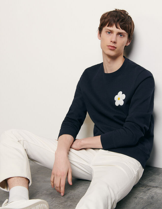 Sweatshirt with embroidered patch : New Summer Collection color Navy Blue