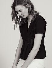 Topstitched V-Neck T-Shirt : All Selection color Black