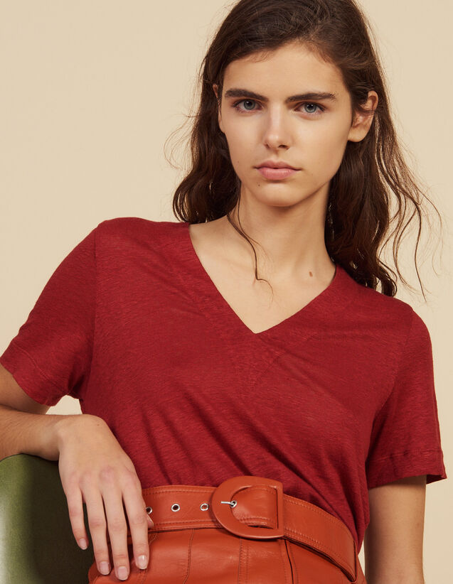 Short-Sleeved Linen T-Shirt : T-shirts color Terracotta