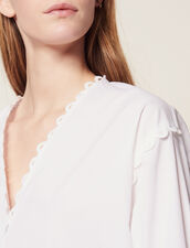 Long-Sleeved Cotton Top : All Selection color white