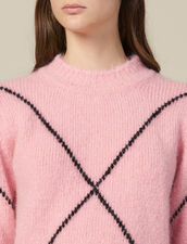 Hairy jacquard sweater : Sweaters & Cardigans color Pink