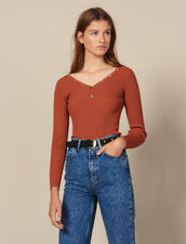 Sweater Trimmed With Branded Press Studs : Sweaters & Cardigans color Terracotta