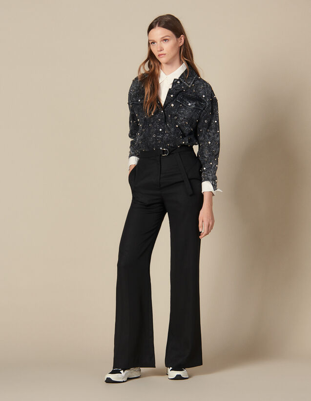 High-waisted wide-leg trousers : FBlackFriday-FR-FSelection-30 color Black