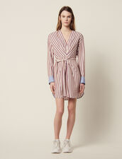 Long-Sleeved Striped Short Dress : Dresses color Bordeaux