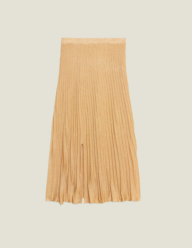 Long Knit Skirt With Pleats : All Selection color Gold