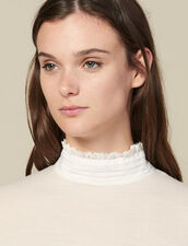 High-Neck Sweater With Pleated Silk : Copy of VP-FR-FSelection-Pulls&Cardigans color Nude