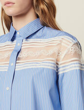 Striped Shirt With Lace Inset : null color Blue