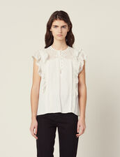 Jacquard Top With Ruffles : All Selection color Ecru