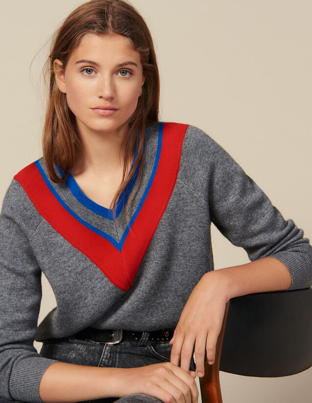 Low-Neck Sweater With Braid Trim : Sweaters & Cardigans color Grey