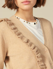 Cardigan With Asymmetrical Ruffle : Sweaters & Cardigans color Camel