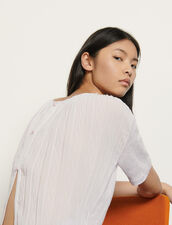 Linen T-shirt with pleated back : T-shirts color Mauve