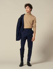 Wool suit trousers : LastChance-IT-H50 color Navy Blue