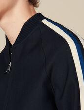 Varsity jacket with striped braid trim : LastChance-IT-H50 color Navy Blue