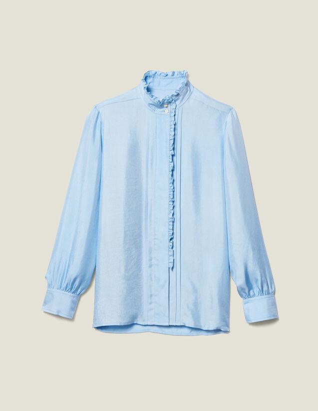 Silk Shirt Edged With Ruffles : LastChance-ES-F40 color Blue sky