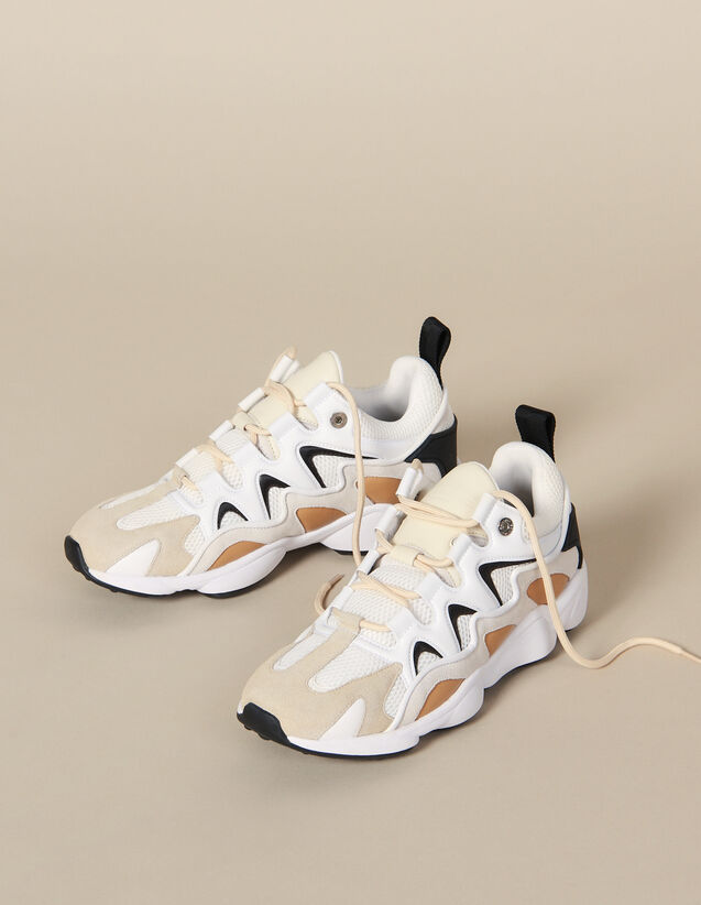 Trainers In Mixed Materials : Shoes color Beige