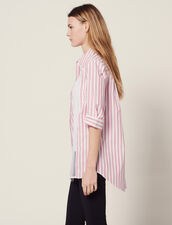 Striped Shirt With Lace Detail : All Selection color Red
