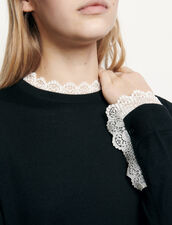 Fine sweater trimmed with lace : Sweaters & Cardigans color Black