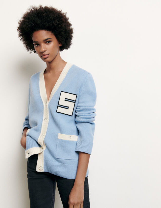 College-style wool cardigan : New Summer Collection color Blue sky