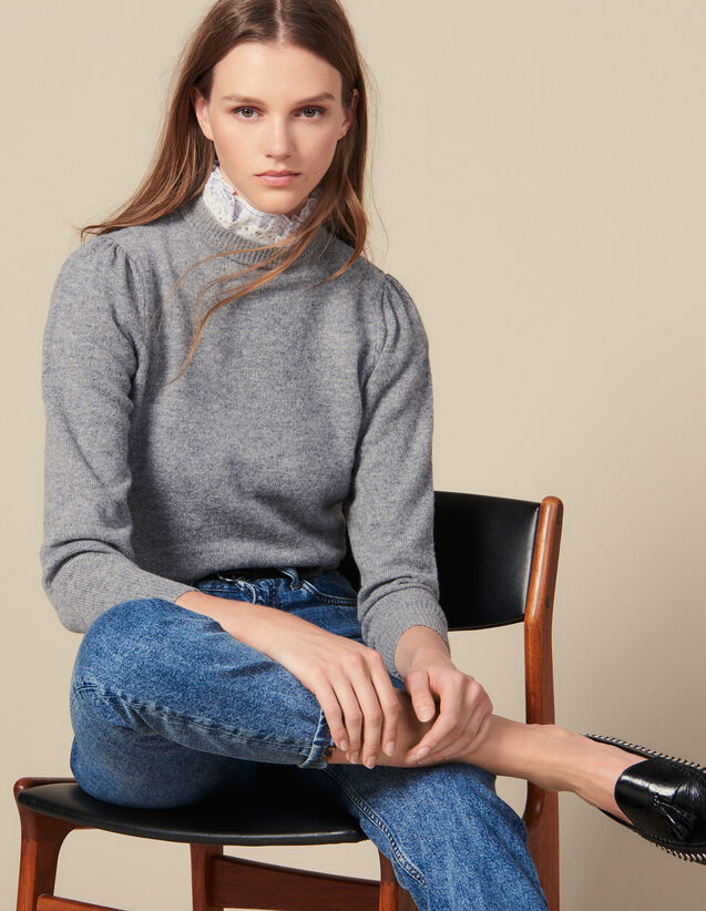 Sweater With Faux Collar : Sweaters & Cardigans color Light Grey