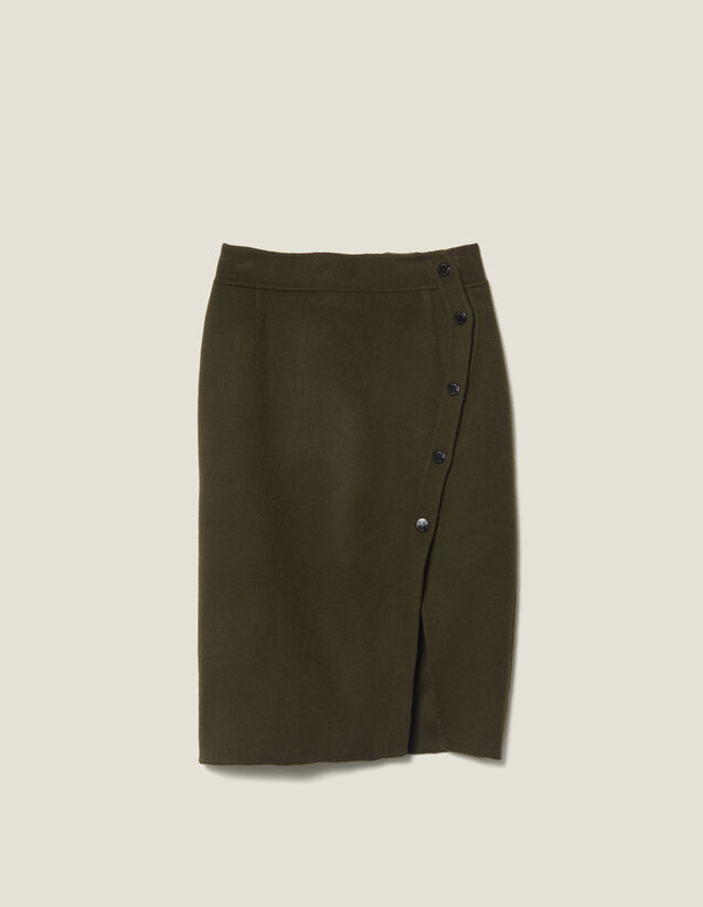 Wool Wrapover Skirt With Slit : LastChance-ES-F50 color Olive Green