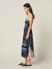 Floaty Midi Dress In A Mixture Of Prints : null color Blue