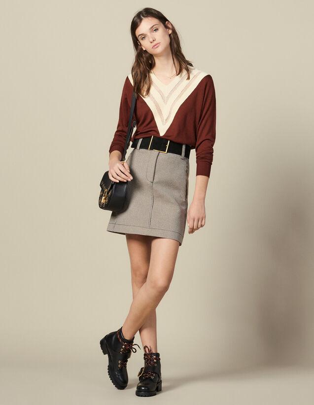 Lace-Effect V-Neck Sweater : Copy of VP-FR-FSelection-Pulls&Cardigans color Brown