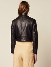 Cropped Leather Jacket : Blazers & Jackets color Black