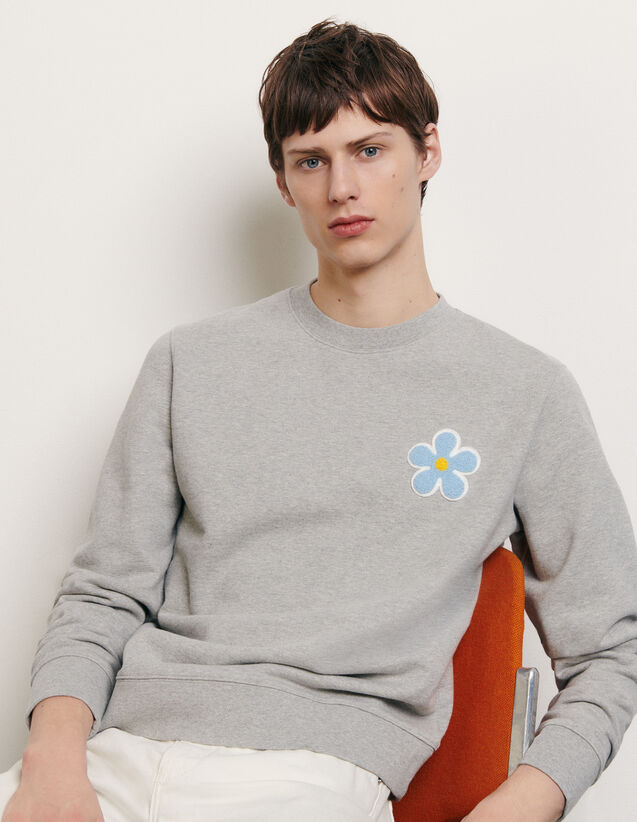 Sweatshirt with embroidered patch : New Summer Collection color Mocked Grey
