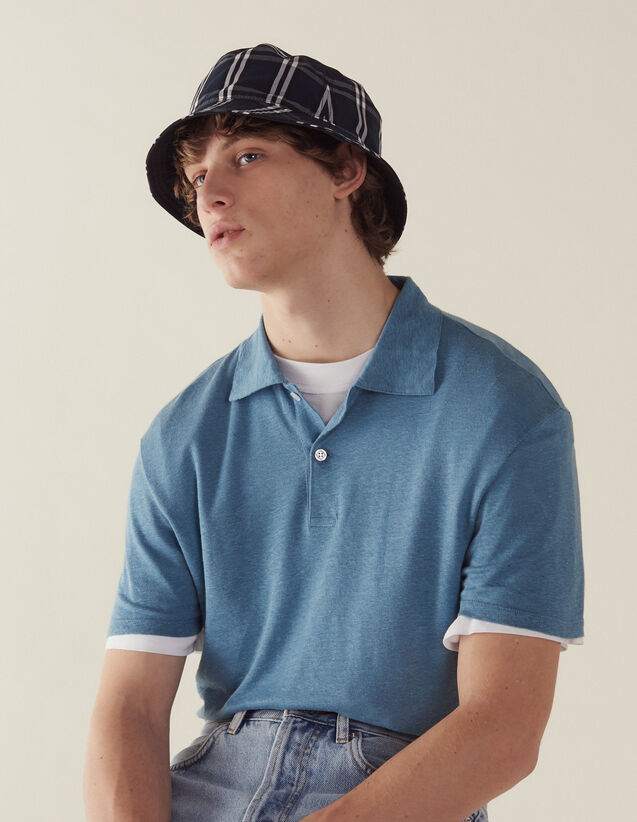 Short-Sleeved Linen Polo Shirt : T-shirts & Polo shirts color white
